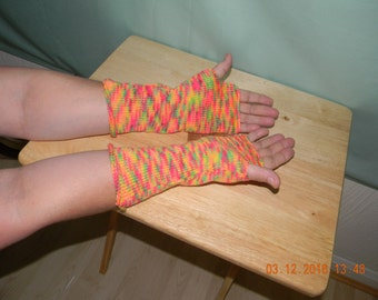 Handmade knitted fingerless gloves (longer length).