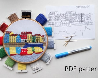 Copenhagen Hand Embroidery pattern PDF. Embroidery Hoop art, Hand Embroidery, Wall Decor, Housewarming Gift. Free Hand embroidery guide!