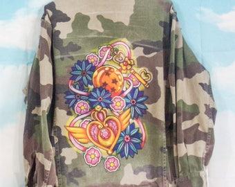 Veste militaire kaki Motif Kawai peint main Taille S