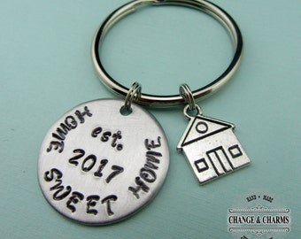 Custom Home Sweet Home Keychain, New House Gift, New Homeowner Gift, New House Keychain, Custom Keychain, Initial Charm, Personalized,CHH002