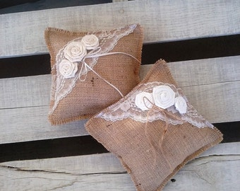 "Burlap Ring Pillow, Rustic 8""x8"" Burlap and Lace Ring Bearer Pillow with Rosettes, Rustic/Shabby Chic/Barn/Country Wedding Decor"