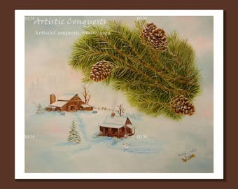 PRINT - Winter Ranch Landscape / Farmhouse, Barn Painting / Christmas / Pine Tree, Pine Cone, Evergreen Art / Rustic Ranch Decor - 16x20""