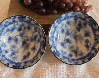 """Set of 2 Asian Blue and White Floral 4.25"""" Fruit Bowls"""