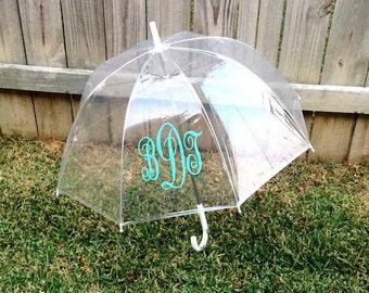 Adult Size Monogrammed Umbrella. Bubble Clear Umbrella. Personalized names. Rainy Days. Bridesmaid Gifts. Teacher presents. Birthday. Custom