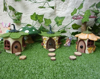 Handcrafted Pottery Garden Fantasy Flower Petal Roof Fairy Houses
