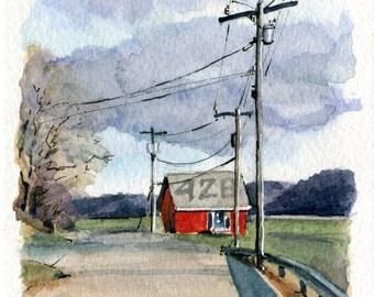4x6 Original Watercolor Painting - East Haddam