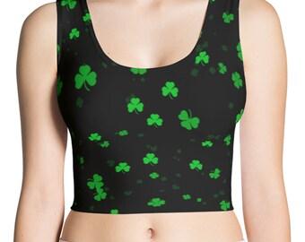 St Patricks Day Shamrock Tank Top - Clover Print Shirt - Saint Patricks Day Shirt - Shamrock Shirt - Green St. Patricks Shirt - Crop Top