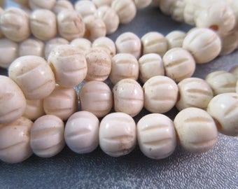 Faux Bone Roundel Beads 58pcs