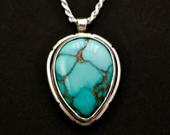 Natural Bisbee Turquoise and Sterling Silver pendant, AAAA Gem grade, 1970's, old stock, rare, handmade
