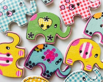 10 x elephant craft wooden buttons - free post!