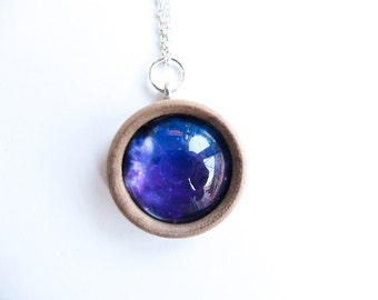 Universe Space Cosmic Nebula Wooden Round Pendant Necklace