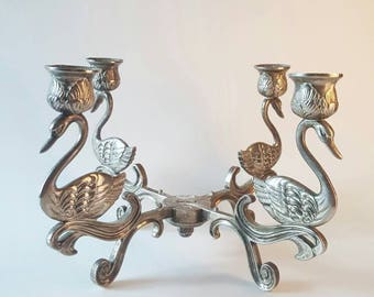 Vintage silver plated zinc swan candelabra / swan candle holder