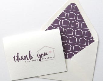 Real Estate Agent Thank You For Your Referral Card - Realtor Thank You for Your Referral - House with Heart - Purple