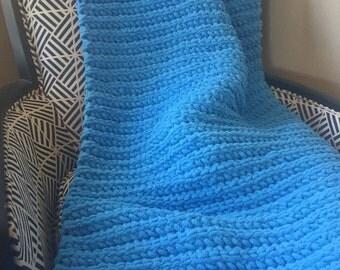 Light Blue Crochet Blanket