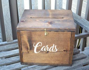 Wedding Card Box, Large Card Box, Rustic Wedding, Wedding Cards, Drop Box, Wedding Decor, card box with lock, Closing Card, Wooden Box