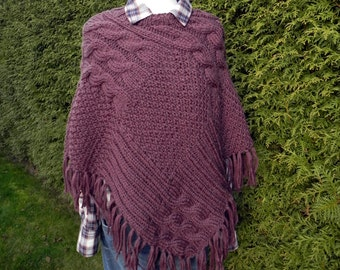 knitted poncho, hand made wool poncho, winter poncho, wool, knit poncho, Cape,.