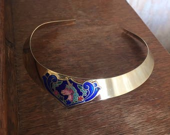 On Trend! Vintage 1970's UNICORN Choker - Gold Coloured Metal and Enamel Detail