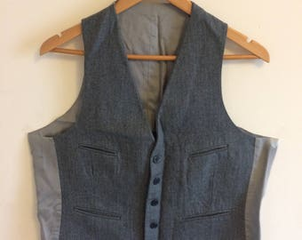 Vintage Gray Wool Waistcoat/ Pin stripe/ Size 40 Medium M/ Mens/ Formal/ Causual