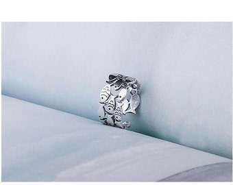 Sterling Silver Band Fish Ring
