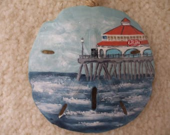 Ruby's at the Pier, Hand Painted Sand Dollar Ornament, Beach Ornament, Coastal Decor, Seashells, Name Drop Ornaments