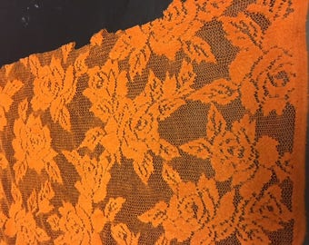 See-thru Floral Lace Mustard Orange Yellow Polyester Spandex Lycra Fabric Bright High Quality