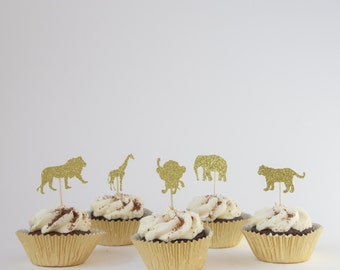 Safari Animal Birthday Cupcake Toppers. Animals. Lion. Tiger. Monkey. Giraffe. Elephant. Gold Glitter. Jungle fun. Wild Animal Collection.