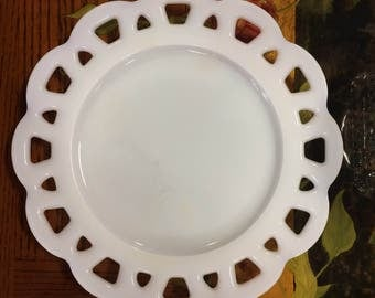 Scalloped edge Milk Glass plate