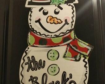 Snowman Christmas door hanger