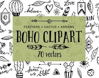 Boho clipart, tribal clipart, clipart borders, cactus clipart, feather clipart, arrow clipart, heart, digital, icons, hand drawn, vectors,