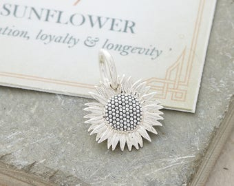 Silver Sunflower charm - silver sunflower necklace - sunflower bracelet - sunflower gift - clip on charms sunflower
