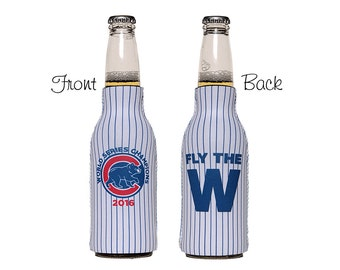 Chicago Cubs World Series Champions Neoprene Slip On 12oz. Bottle Insulator, Bottle Hugger, Bottle Cooler, Fly the W, Baseball Bottle Cooler