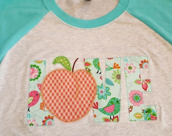 """Raglan Baseball 3/4 sleeve T's with Applique Embroidered """"LOVE"""" peach as the letter """"O"""""""