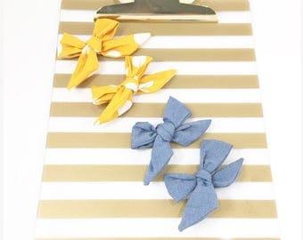 Sailor bows, hair clips, polka dots, chambray