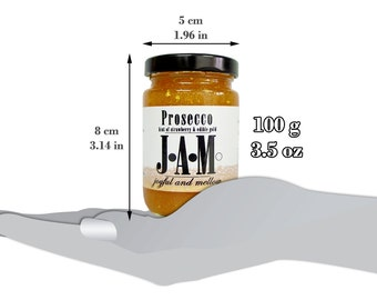 Prosecco JAM spread with a hint of strawberry and edible gold  100g or 200g. Prosecco lover. Birthday Gift. Unique gift.