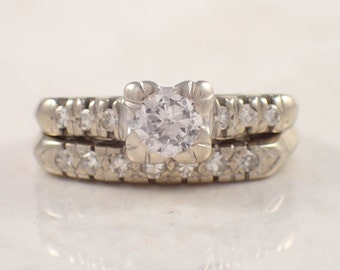 Retro 14k White Gold Diamond Engagement and Wedding Band Set