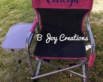Monogram chairs, beach bags