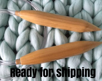 Giant Knitting Needles, Extreme Knitting Needles, Circular Needles, 40 mm. Wooden Needles, Big Circular Needles
