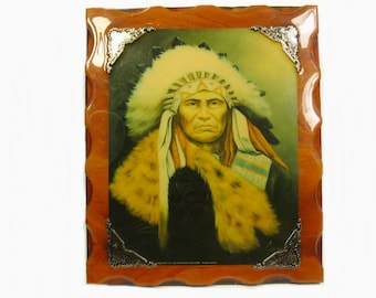 Vintage Native American Indian Portrait on Lacquered Wood Wall Plaque, Wall Art