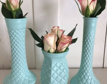 Milk glass vases-Pineapple Glass Vases-Milk glass Wedding Decor- Milk glass Centerpiece-Bud vases