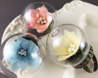 Paper Flower Ring, flower jewelry, jewelry ring, flower ring, glass dome ring