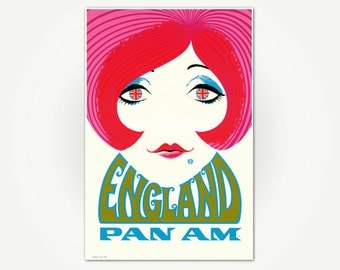England Vintage Travel Poster 1960s - Pan Am  Airlines Travel Poster Wall Art Print