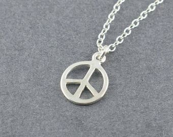 Simple Sterling Silver Peace Charm Necklace