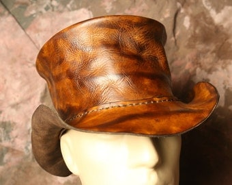 Top Hat --  Steampunk Hat-- Diesel Punk Burning Man -- Leather Hat -- Tophat -- Made in the USA