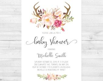 Baby Shower Invitation Girl, Spring Baby Shower Invitation, Floral Baby Shower Invitation, Flowers, Antlers, Rustic, Printed, Printable