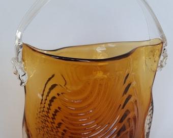 Mid-Century Amber Hand Blown Art Glass Purse Vase