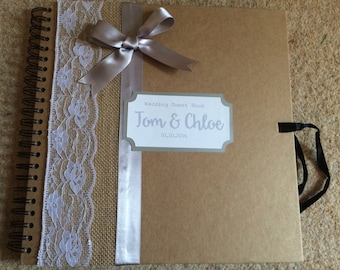 Vintage Wedding guest book, lace and hessian, shabby chic