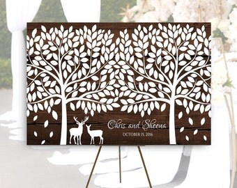 Large Wedding guest book alternative Tree with Deer Rustic wedding guest book canvas Wooden Wedding Guest book, 24x36 or 32x48 canvas