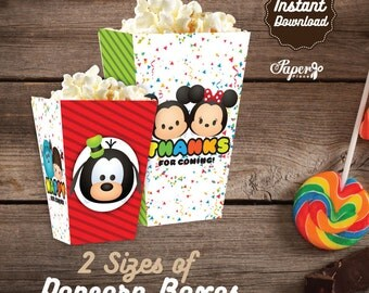 Tsum Tsum Popcorn Box, Printable Tsum Tsum Popcorn Boxes, Tsum Tsum Birthday Party decoration, instant download, Tsum Tsum Party