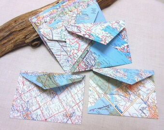World map envelopes, wedding invitation envelopes, greeting card envelopes. SIZE 4 3/4  x 3 1/4 inch - set of 10.