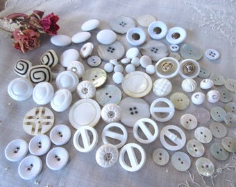 Vintage  Shell Buttons , White   Buttons, Sewing Supplies , Craft  Buttons  - Lot.